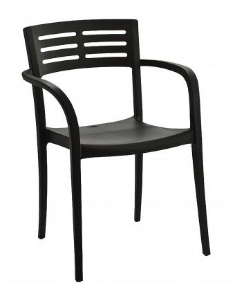 Chaise en résine avec appuis-bras Vogue - Noir