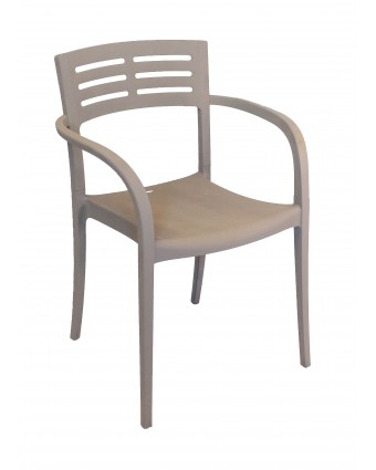Chaise en résine avec appuis-bras Vogue - Taupe