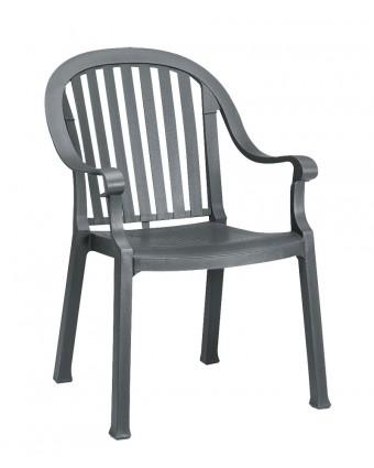 Chaise en résine avec appuis-bras Colombo - Charbon
