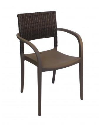 Chaise en résine avec appuis-bras Java - Bronze