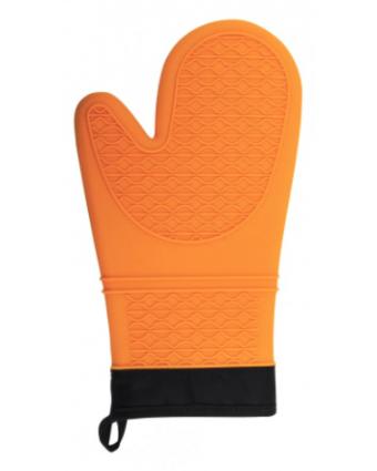 "Mitaine de four en silicone et en coton 13"" - Orange"