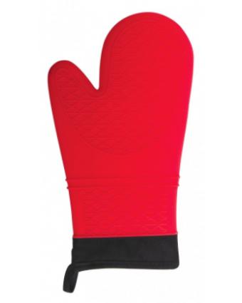 """Mitaine de four en silicone et en coton 13"""" - Rouge"""