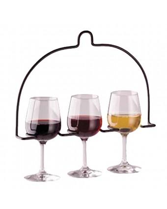 Support à trois verres à vin en métal