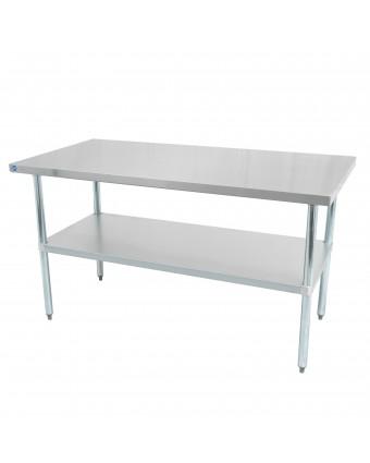 """Table de travail en acier inoxydable avec tablette 60"""" x 24"""""""