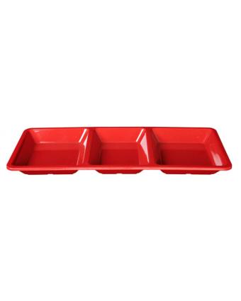 Plateau rectangulaire à trois compartiments 15'' x 6,25'' – Passion Red