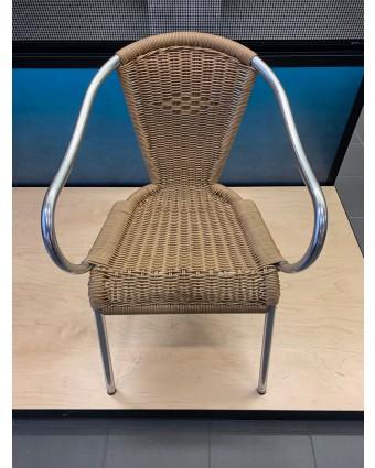 Chaise d'extérieur avec appuis-bras - Beige (usagé)