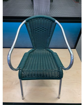 Chaise d'extérieur avec appuis-bras - Vert (usagé)
